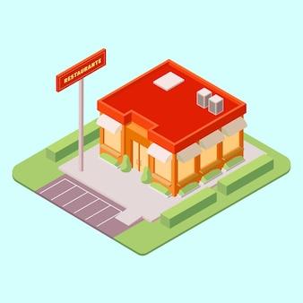 Изометрическая концепция ресторана