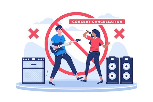 キャンセルされたバンドのコンサートを示す