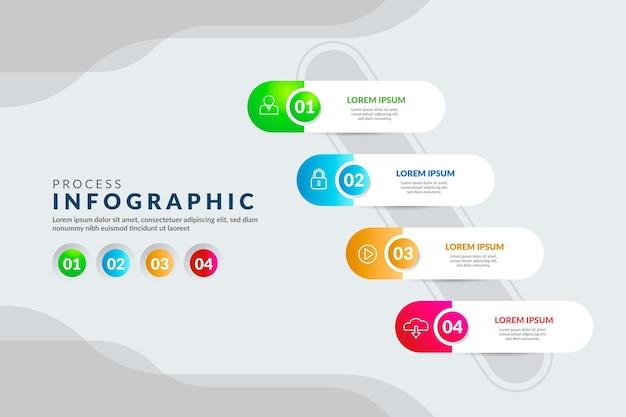 グラデーションプロセスインフォグラフィック