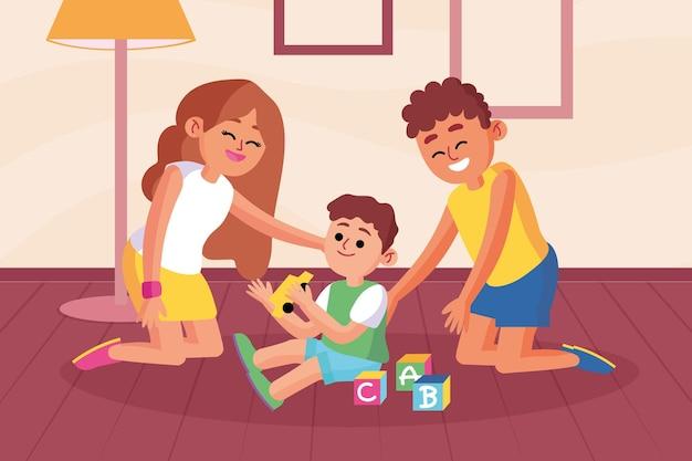 一緒に時間を楽しんでいる家族