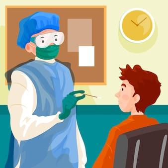 コロナウイルスの鼻腔スワブ検査
