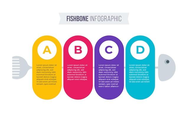 Концепция инфографики плоские рыбные кости