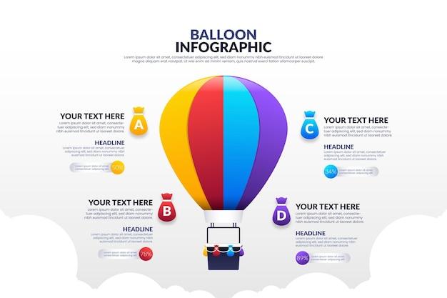Реалистичный шаблон воздушный шар инфографики