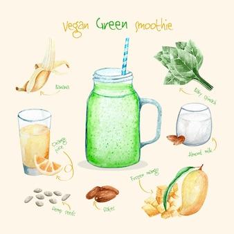 Здоровый веганский зеленый рецепт смузи