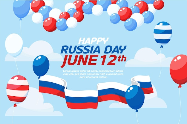 Плоский дизайн россия день фон