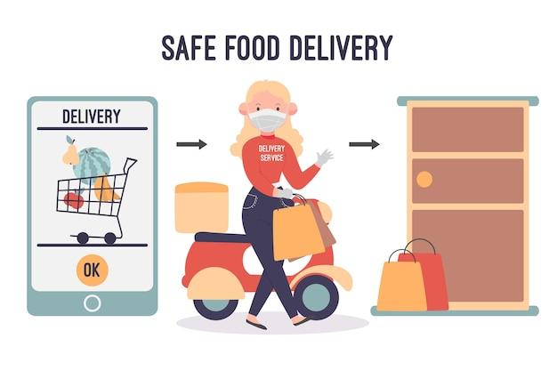 Безопасная доставка еды с женщиной и смартфоном