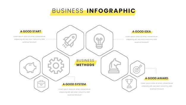 黄色の要素を持つビジネスインフォグラフィック