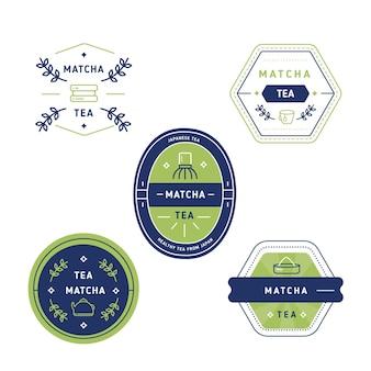 日本の緑抹茶の幾何学的なバッジ