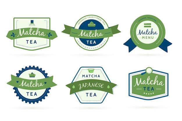 日本の緑の抹茶の幾何学的なラベル