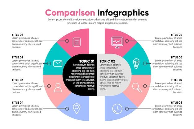 カラフルな比較グラフインフォグラフィック