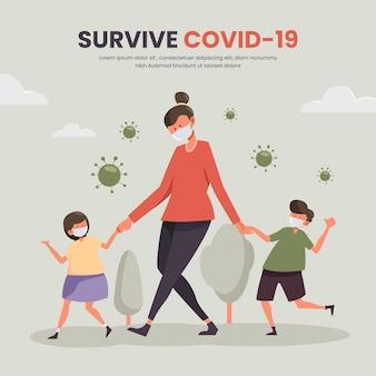 Мать гуляет с детьми концепции