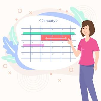 Назначение бронирования концепции календаря