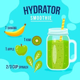 緑の果物とバナナを使ったヘルシーなスムージーのレシピ