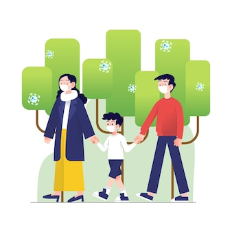 Родители гуляют с ребенком в парке