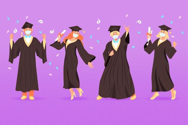 Набор выпускников в медицинских масках