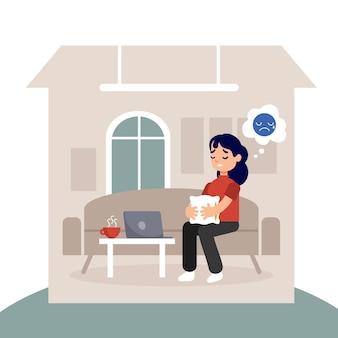 家の中で女性とキャビンフィーバー