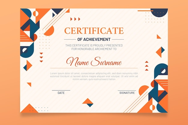 現代の卒業証書のテンプレート