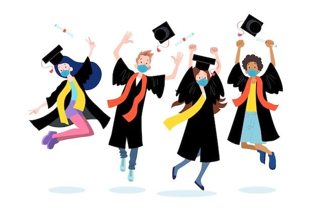 Набор выпускников в масках