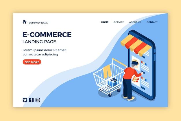 Изометрическая целевая страница электронной коммерции