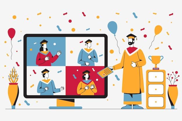 オンラインプラットフォームでのイラスト入りの卒業式