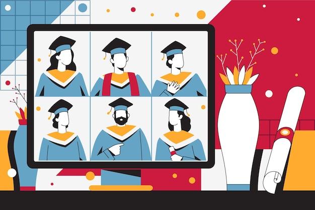 オンラインプラットフォームでの卒業式のイラスト