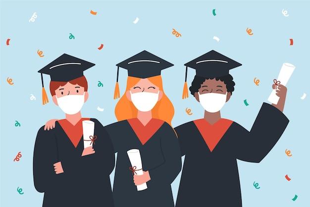 マスクを身に着けている卒業生