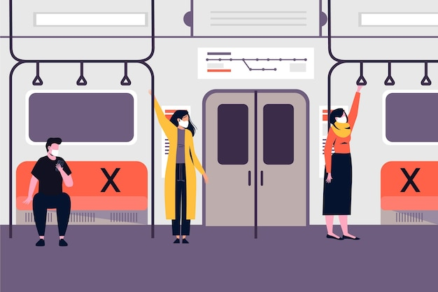公共交通機関で距離を保つ人々