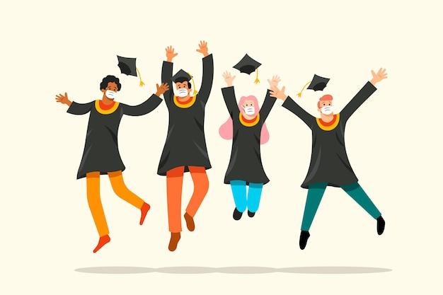 マスクを身に着けている卒業生のグループ