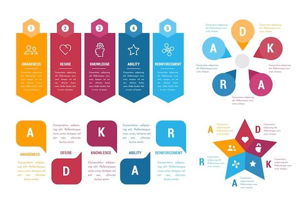 Набор красочных адкар инфографики