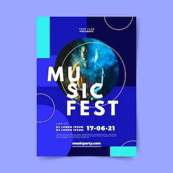 Музыкальная вечеринка фестиваля диджей постер шаблон