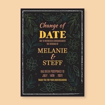 手描きの延期された結婚式は日付を変更します