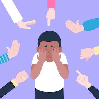 Люди издеваются над другим человеком из-за его кожи