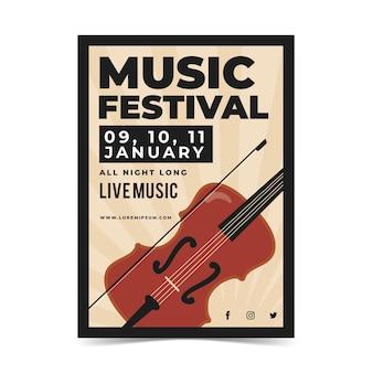 ヴァイオリンとイラスト入り音楽祭ポスター