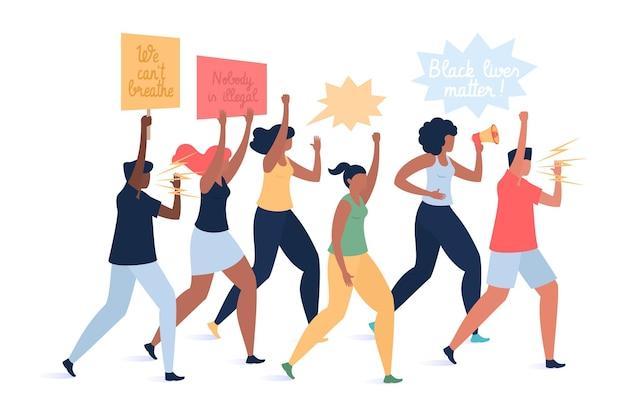 路上で抗議する男女