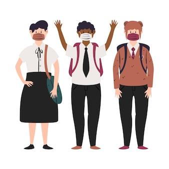 フェイスマスクをつけている学生