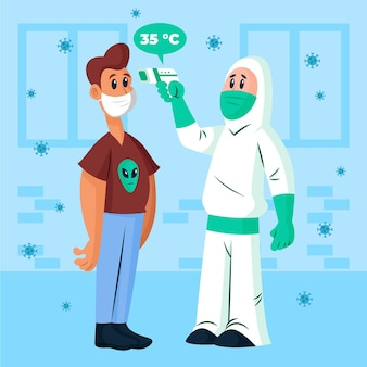 マスクを持つ男をチェックする化学防護服の人