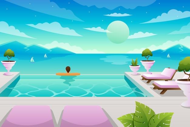 Летний пейзаж с человеком в бассейне