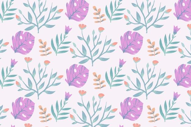 Цветочный узор с растением монстера