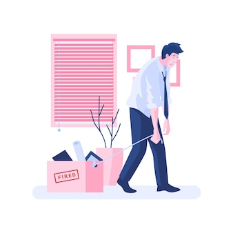コロナウイルスのイラストによる失業