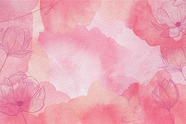 手描きの花とパウダーパステル