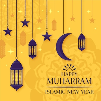フラットなデザインのイスラムの新年