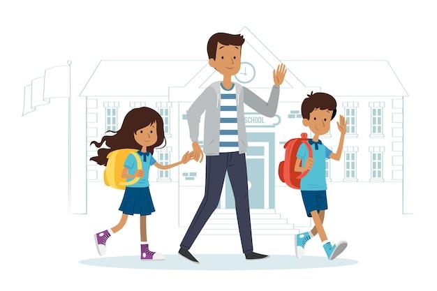 Дети возвращаются в школу с родителями