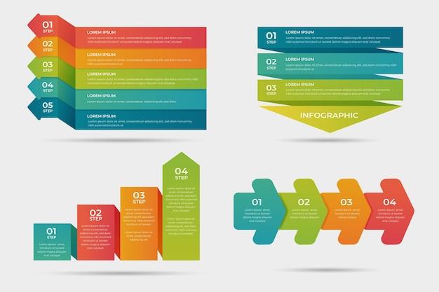 グラデーションプロセスインフォグラフィックデザイン