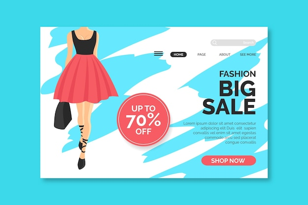 Мода продажа целевой страницы с изображением женщины