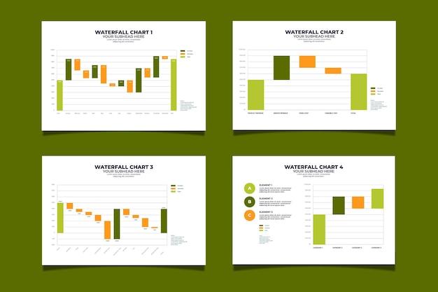フラットなデザインの滝グラフコレクション