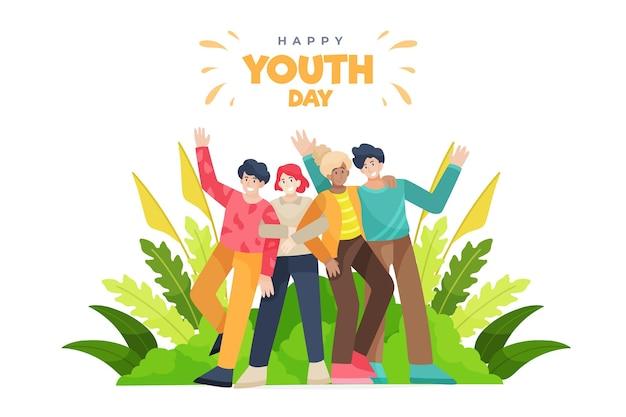 さまざまな人々が祝うフラットデザインの青年日