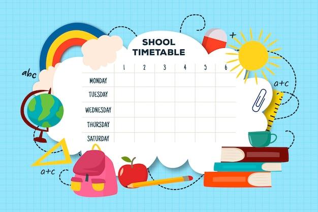 フラットなデザインの学校時刻表テンプレート
