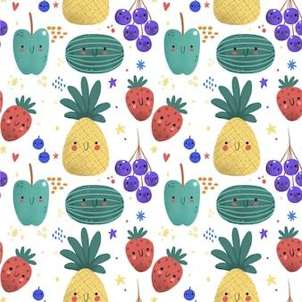 パイナップルとフルーツパターン