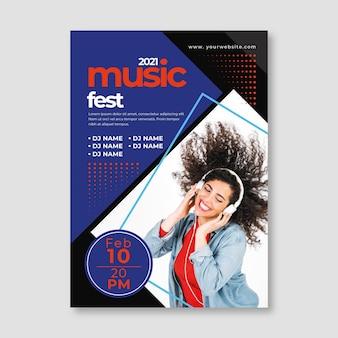 写真付き音楽イベントポスターテンプレート