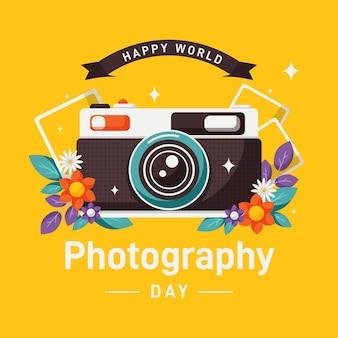 フラットなデザインの世界写真の日のコンセプト